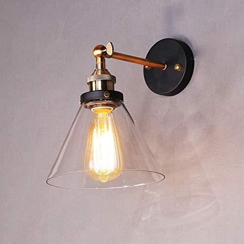 Louvra Applique Murale Intérieur Edison E27 Lampe Industrielle Vintage Ombre En Verre Wall Light Luminaire Réglable Éclairage Cuisine Salle à Manger Salon Chambre Restaurant Bar Étude