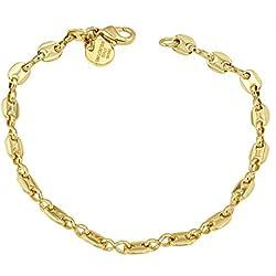 Bracelet Chaîne Grain de Café 18ct or doublé, 5,5 mm, 21 cm, Femme Homme Cadeau Bijoux de l'usine italienne tendenze