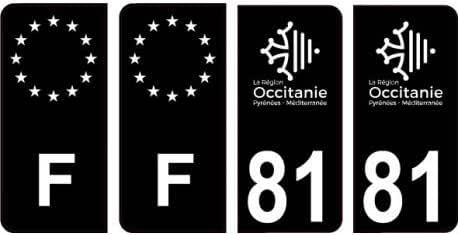 Angles 81 Tarn logo noir autocollant plaque immatriculation auto sticker Lot de 4 Stickers arrondis