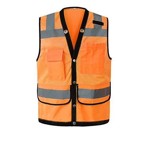 Dünne reflektierende Sicherheitsweste Nachtverkehr Bau Schutzweste Tasche, Einheitsgröße (Color : Orange)
