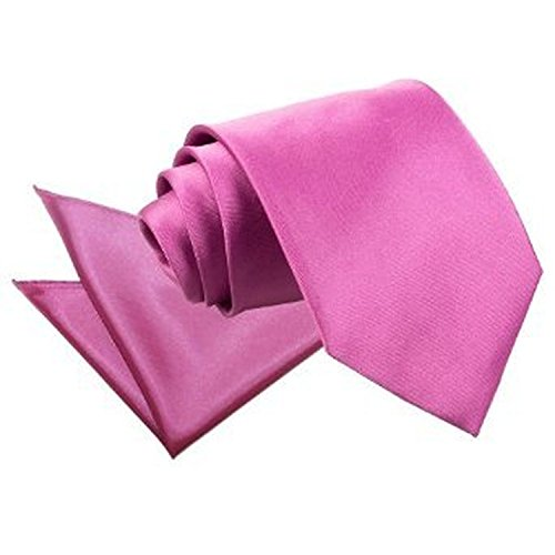 DQT Nouveauté Cravate Unie Homme Haute Qualité Et Mouchoir Assorti Pour Mariage