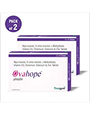 Trexgen OVAHOPE Advanced PCOD/PCOS and PMS PMDD Management for Women with Myo-Inositol 1000 mg, D-Chiro Inositol 25 mg, L-Methylfolate, Vit. D3, Chromium, Selenium and Zinc, 30 Tablets - Pack of 2
