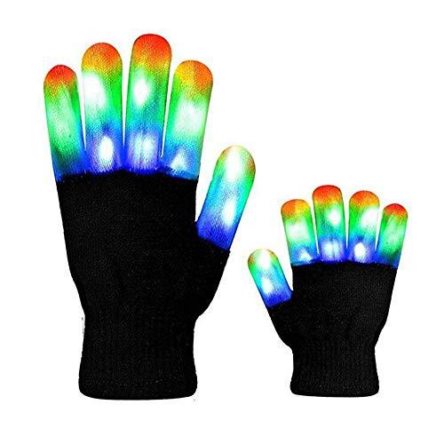 Leuchtende Handschuhe, FOONEE LED Handschuhe mit 3 Farben blinkende Einstellungen 6 Modi Coole Spielzeuge Kostüm Geschenk für Kinder Mädchen Junge die Party Halloween Weihnachten