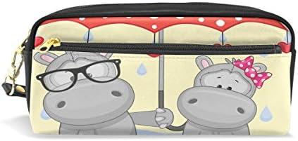 Eslifey Pochette portable en cuir PU pour stylos écolier Motif hippopotame Rouge B07MD9Y7VV | Insolite