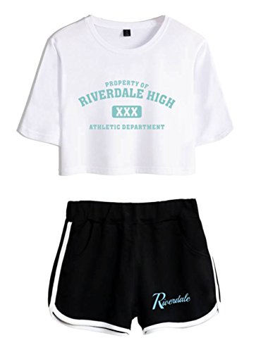 ZIGJOY Riverdale Crop Top T-Shirts und Shorts Kleidung Anzug für Mädchen XS
