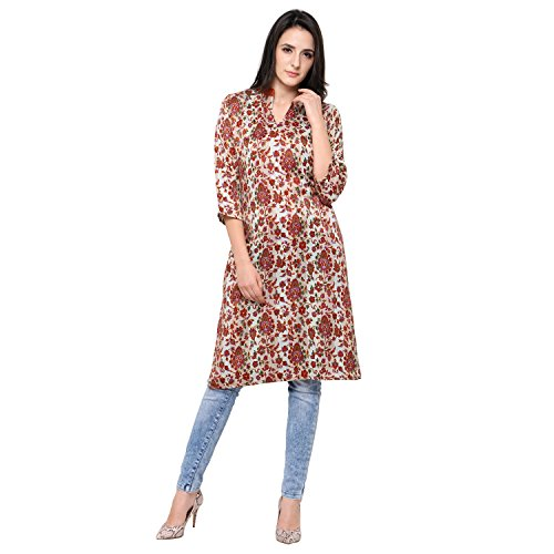 Eternal Women's Cream Printed Pashmina Knee-Length Kurti With Pocket( TSFPS002-CREAM_L, Cream, Large)  available at amazon for Rs.279