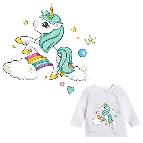 Pegatina transfer parche termoadhesivo unicornio arcoiris para bodys, camisetas, chandal, sudaderas, babys, pijamitas, albornoces, canastillas, mochilas 20 x 20 cm de CHIPYHOME