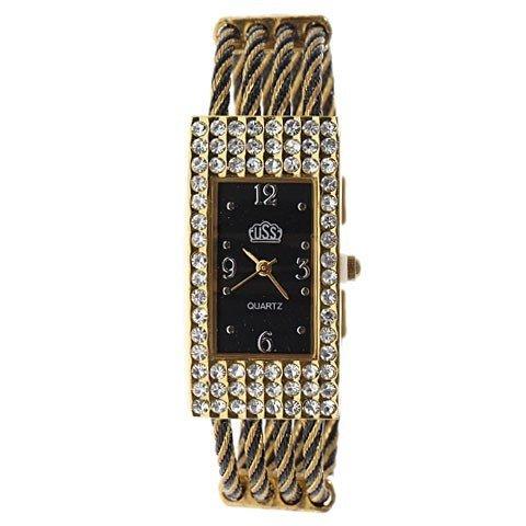 Modische Damenuhr Armband Armreif Armkette Damen Schmuck Strickmuster Schwarz