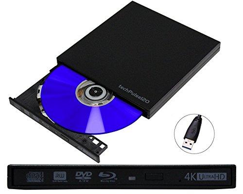 techPulse120 Externer UltraHD 4k 3D UHD M-Disc BDXL USB 3.0 Blu-ray Brenner Burner Superdrive Blueray Rom Laufwerk BD DVD CD Ultra Slim für Computer Notebook Ultrabook Windows Mac OS Apple iMAC Macbook Pro Air