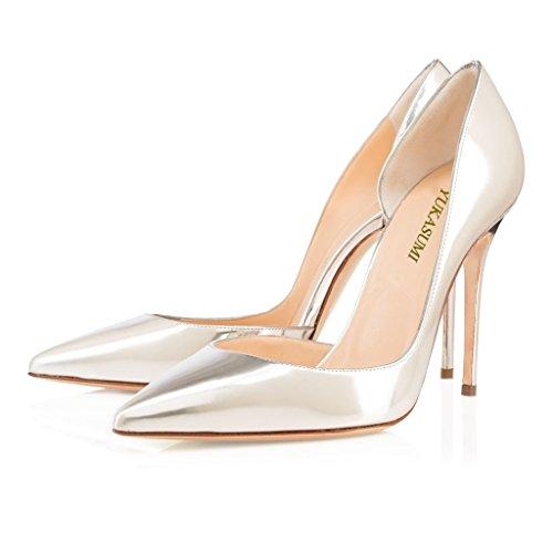 EDEFS Damen Faschion 100mm Spitze Pumps High Heels Stilettos Party Schuhe Silber