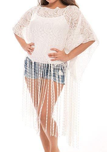 J Fashion Accessories Damen Fashion Bademode Überzug Oberkleid Chiffon Kimono Cardigan mit Fransen - Weiß - Einheitsgröße