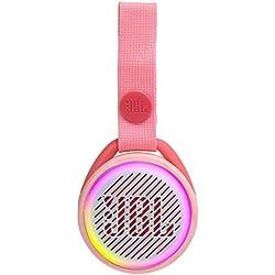 JR POP JBL - Enceinte Portable pour Enfants - Bluetooth & Waterproof - Avec Modes Lumineux Multicolores & Autocollants - Autonomie 5 hrs - Bluetooth, Rose