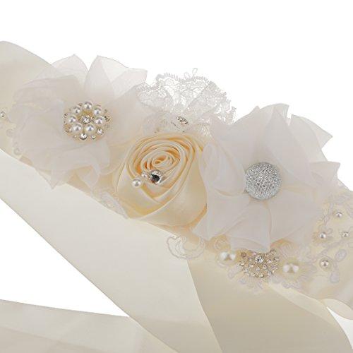 Cinturón Correa de Marco Flor Perla de Imitación Vestido de Nupcial Dama Honor Boda Decoración - multicolor, 308 x 6cm