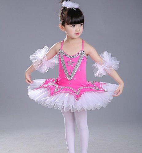 HUOFEINIAO-Tanzkleidung Kinder Ballerina Kostüme Mädchen Geschirr Puff weißen Rock Kinder tanzen Praxis Kleidung, 140cm, ()