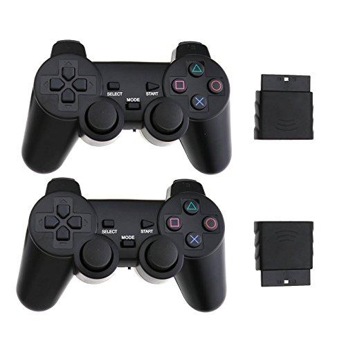 Creative-Idea Konsolensteuerung mit Empfänger für PS2JOYPAD Gamepad Konsolen Schwarz Controller Wireless Doppel Vibration Videoleuchte -