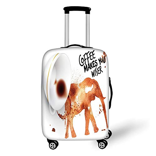Travel Luggage Cover Suitcase Protector,Coffee Art,Drink Coffee and Be Wiser Concept with Elephant Espresso Stains,Burnt Sienna Black White,for Travel