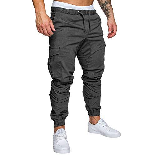 Pantalons Homme Sarouels Pantalons de Jogging Pantalons Jogger Casual Danse Sportwear Baggy Sweat Pants Pantalon de Sport Hiver Pantalons de Survêtement (L, Gris foncé)