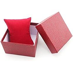 Tonsee 1pcs Geschenk Box Case für Armreif Armband Schmuck Uhr mit Schaumstoff Pad innen vorhanden,rot