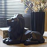 CUIAIDING Statue Abstraite Moderne Lion Sculpture Résine Statue Animale Figurine Style Géométrique Maison Bureau Bureau Miniatures de Maison & Jardin, Noir