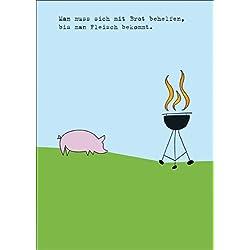 Amüsante Einladungskarte zum Grillen mit Schwein am Grill. • auch zum direkt Versenden mit ihrem persönlichen Text als Einleger.