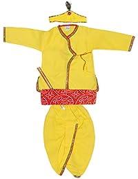 My NewBorn Baby Boy's Cotton Fancy Krishna Dress Angrakha with Dhoti and Bansuri Flute