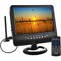 "SOYAR (22.86 cm) 9 ""Con Sintonizador de TV Digital DVB-T2/Batería TV Portátil,Ranura Para Tarjeta USB/Micro SD/Entrada de Entrada Para Auriculares,Control Remoto/Cargador Para Coche"