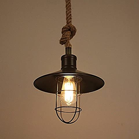 FSLiving Hemp Rope Pendant Light Vintage Industrial Flaxen Rope Twisted Edison Black Metal Pendant Lighting Country Light Wire Cage Ceilling Lamp 1 Light