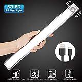 Lampe de Placard, GLIME 57LED Lampe à Détecteur de Mouvement 4 Modes Éclairage de Secours Veilleuse USB Rechargeable pour Cabinet Escalier Armoire Placard Entrée Couloir Toilette Cuisine