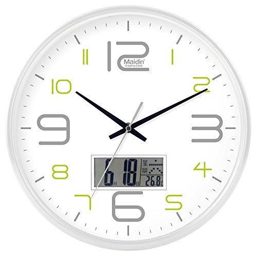 DIDADI Wall Clock Schautafel Schlafzimmer Wohnzimmer Hörraum Wanduhr Herr Ding hinter dem Kalender Uhr - Ching-stein Batterie Uhren runden-Jong-Mann, 10-Zoll-LCD, 543 weiße Version