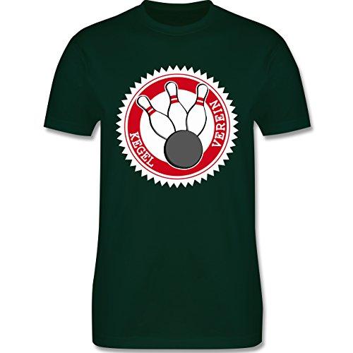 Bowling & Kegeln - Kegel Verein Badge Abzeichen - Herren Premium T-Shirt Dunkelgrün