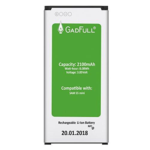 GadFull® Akku für Samsung Galaxy S5 mini | 2018 Baujahr | Entspricht dem original EB-BG800BBE Lithium-Ionen-Akku der Modelle SM-G800F | Duos SM-800H| Ersatz Handy-Akku für Ihr Smartphone | Perfekt als Ersatz-Akku