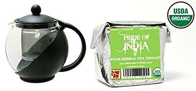 Pride Of India thé basilic sacré Tulsi organique (décaféiné) demi-livre pleine feuille et trempé théière en verre 3cup w/infuseur amovible 25 onces liquides pack combo