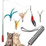 Dioxide 7 Piezas de Juguetes para Gatos, Juguete de Plumas de Gato 1 Varita Retráctil con 5 Plumas de Ave, 2 n 1 Función Mascota Gato Captura Juguetes De Entrenamiento(Baterías no Incluidas)