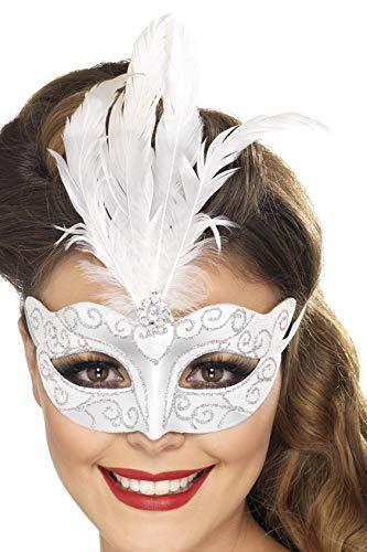 Kostüm Augenmaske Feder - Smiffys Damen Venezianische Glitzer Augenmaske mit Feder, One Size, Silber, 24571