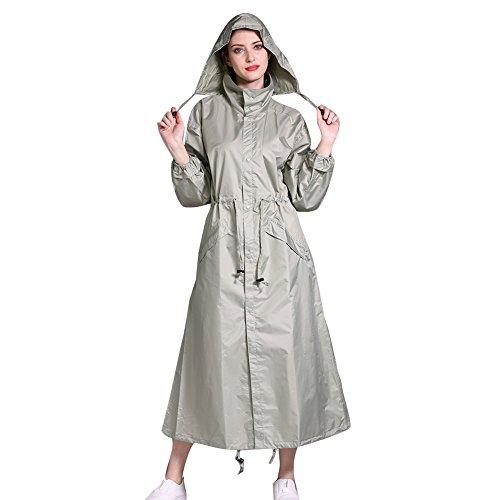 Gagacity antipioggia da donna riutilizzabili con zip antipioggia antivento impermeabile lungo con cappuccio verde