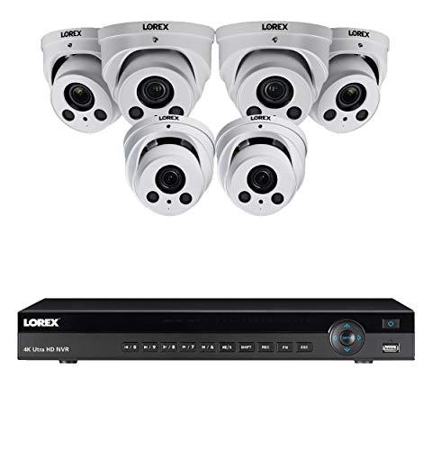 Lorex 8mp 4K Ultra HD Ip Nr900X Series 2 HDD Slot NVR-System mit 4K Lne8964Ab Audio IP-Dome-Kameras Paket 6 Kameras w / 8 Ch NVR Weiß (Lorex-sicherheit Ip-kamera-system)