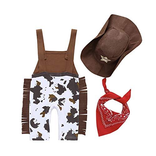 Kostüm Baby Cowboy Boy - LABIUO 3 Stücke Infant Baby Boy Cowboy Kostüm Strampler + Hat + Bib Kleidung Set Hosenträger Outfit Kinderkleidung(Gelb,6-9 Monate/80)