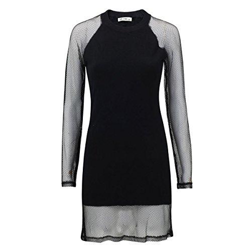 Fashion4Young 5316 Damen Kleid Shirt Longshirt Pullover Damenshirt m. Netz Clubwear Bodycon (schwarz, 38-40)