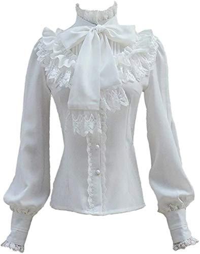 Plissee Frauen Kostüm - Damen Plissee Rock Rüsche Chiffon Bluse Retro Viktorianisch Lolita Bluse (Blanc, L)