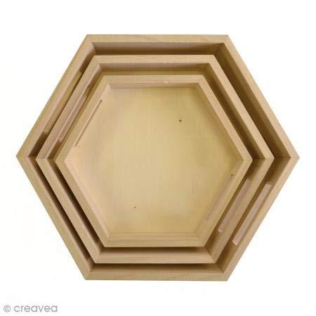 Artemio 14002037 Set 3 Plateaux Hexagonaux à Décorer, Bois, Beige, 30,3 x 17,5 x 6 cm