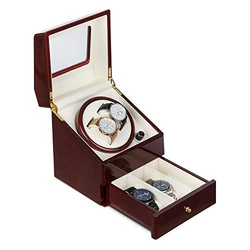 Klarstein Geneva - Uhrenbeweger, Uhrendreher, Uhrenbox, 2 Automatikuhren, 4 Modi, Links- oder Rechtslauf, Schubfach, Rosenholzoptik