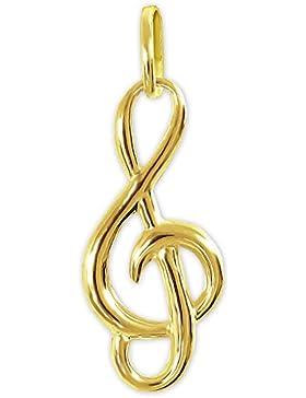 CLEVER SCHMUCK Goldener Anhänger kleiner Notenschlüssel 16 mm schlicht und glänzend 333 GOLD 8 KARAT im Etui