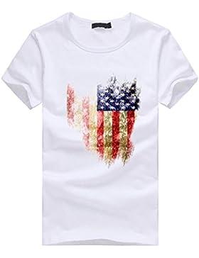Amlaiworld Sommer-Flaggen-Druck-Kurzschluss-Hülsen-T-Shirt für Männer, fashionable und cooles T-Shirt, Weiß