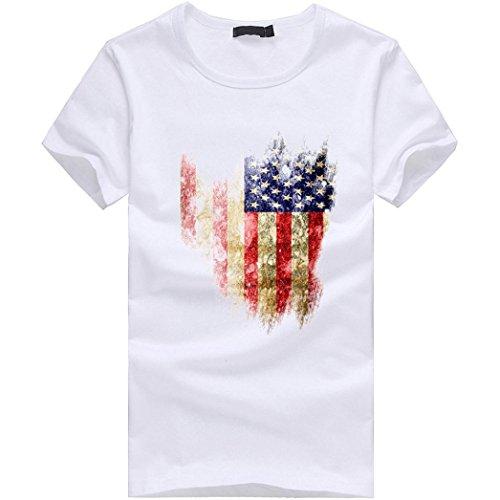 Amlaiworld Sommer-Flaggen-Druck-Kurzschluss-Hülsen-T-Shirt für Männer, fashinable und cooles T-Shirt, Weiß (S, Weiß)