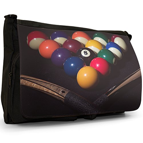 Fancy A Bag Borsa Messenger nero Eight Ball In Corner Pocket Pool Table Balls Ready To Play With Cues