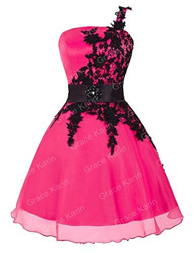 Hot Pink Evening Prom Wedding Dresses Short Organza UK 8 YF4288-2
