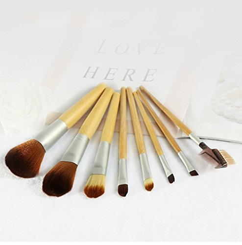Maquillage Brosse, 8 Pcs/Set Bambou Poignée Maquillage Brosse Mélange Poudre Ombre à Paupières Contour Concealer Beauté Cosmétique Joue Brosse Portable Outil Kit (Color : Bamboo Handle)