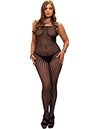 Yummy Bee - Justaucorps Bodystocking Résille Noir Entrejambe Dentelle Ouvert Voile Lingerie - Grande Taille 36 - 50