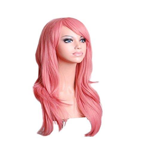 (Tman Lady Frauen Mädchen 70cm lockige Perücken Cosplay Anime-Partei-Haar-wellenförmige Lange Haarteil Perücke synthetischem Haar)