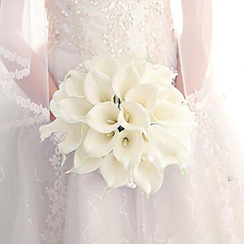 Veryhome, 20pcs fiori artificiali del tipo calla, con un aspetto realistico, ideale come bouquet da sposa, come decorazione per la festa di casa o un matrimonio (bianco)